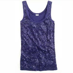 J. Crew Blue Scattered Sequin Tank Top